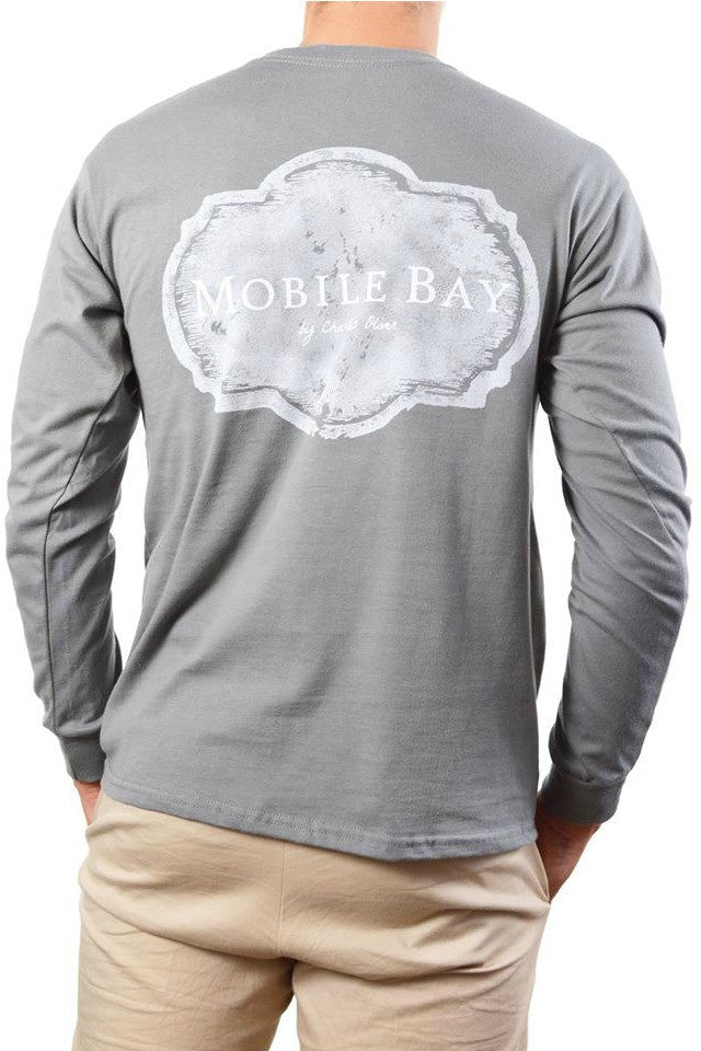 Mobile Bay: Plaque Long Sleeve Tee, Gray