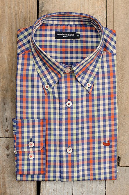 Southern Marsh: The Cumberland Plaid Twill Dress Shirt, Burnt Orange and Blue