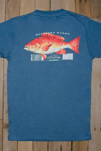 Southern Marsh: Red Snapper Tee, Slate