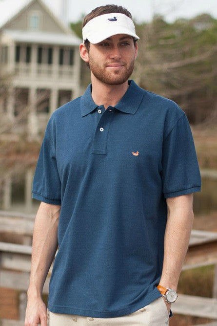 Southern Marsh: Stonewall Heathered Polo, Washed Navy