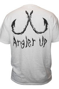Angler Up: Short Sleeve Pocket Tee, White/Black
