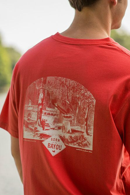 "Southern Marsh: ""Born on the Bayou"" Tee, Red"
