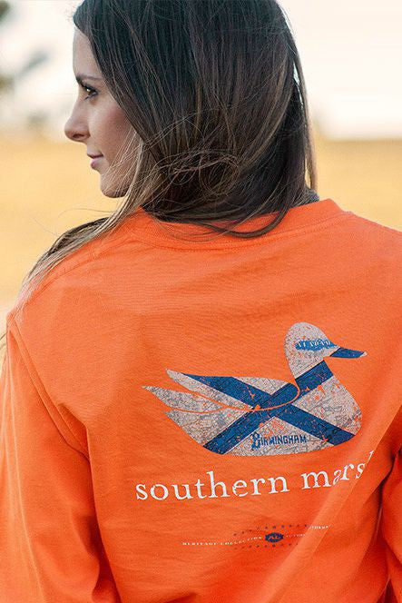 Southern Marsh: Authentic Heritage Long Sleeve Tee, Orange