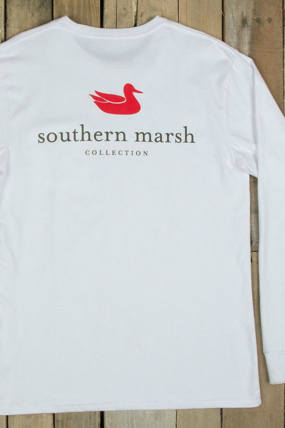 Southern Marsh: Authentic Long Sleeve Tee, White
