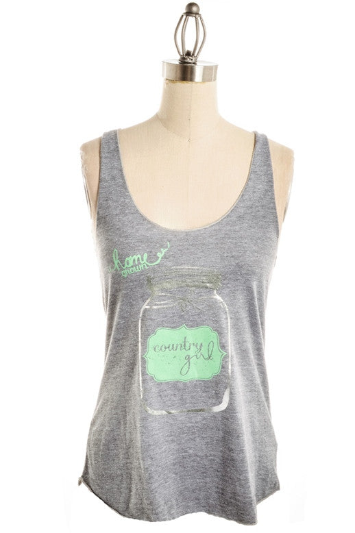 Judith March: Home Grown Country Girl Tank, Gray