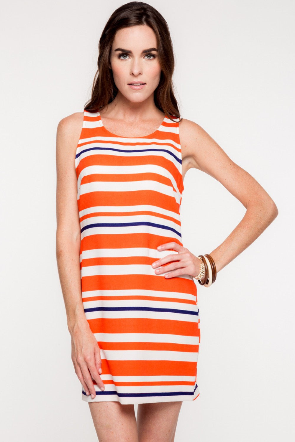Everly: Aubie Dress, Orange/Navy