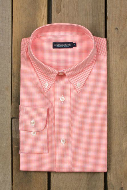 Southern Marsh, Gadwall Gingham Dress Shirt, Melon