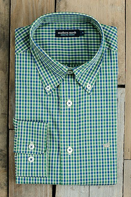 Southern Marsh: Hookbill Gingham Dress Shirt, Navy/Green