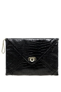 French Connection: Snake Chain Envelope Clutch, Black