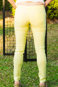 Karlie: Neon Jeggings, Yellow