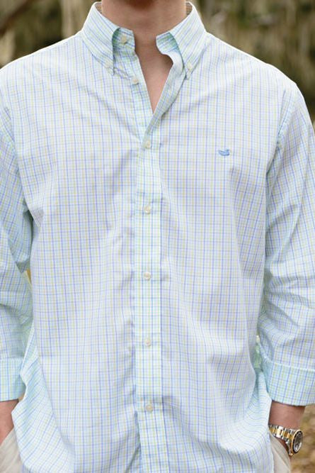 Southern Marsh: Muscovy Check Dress Shirt, Lilac, Lime, and Teal
