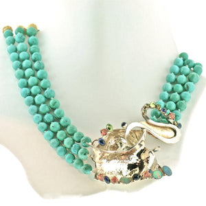 3 strand turquoise + sterling necklace