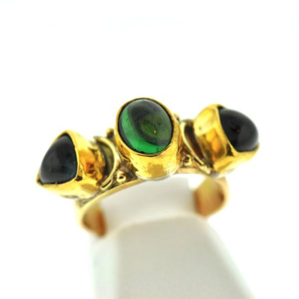 Gold + Tourmaline Three-Stone Ring