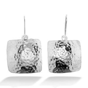 Hammered Square Drop Earring
