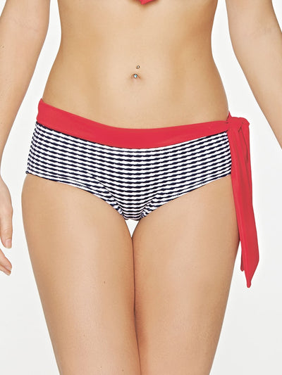 Chevron Navy Waist Tie Brief