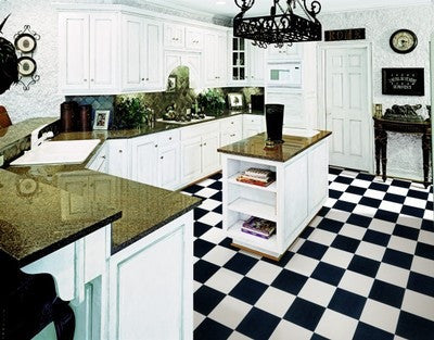 Black & White Checkered Garage, Kitchen Floor | Wide Width Vinyl ...