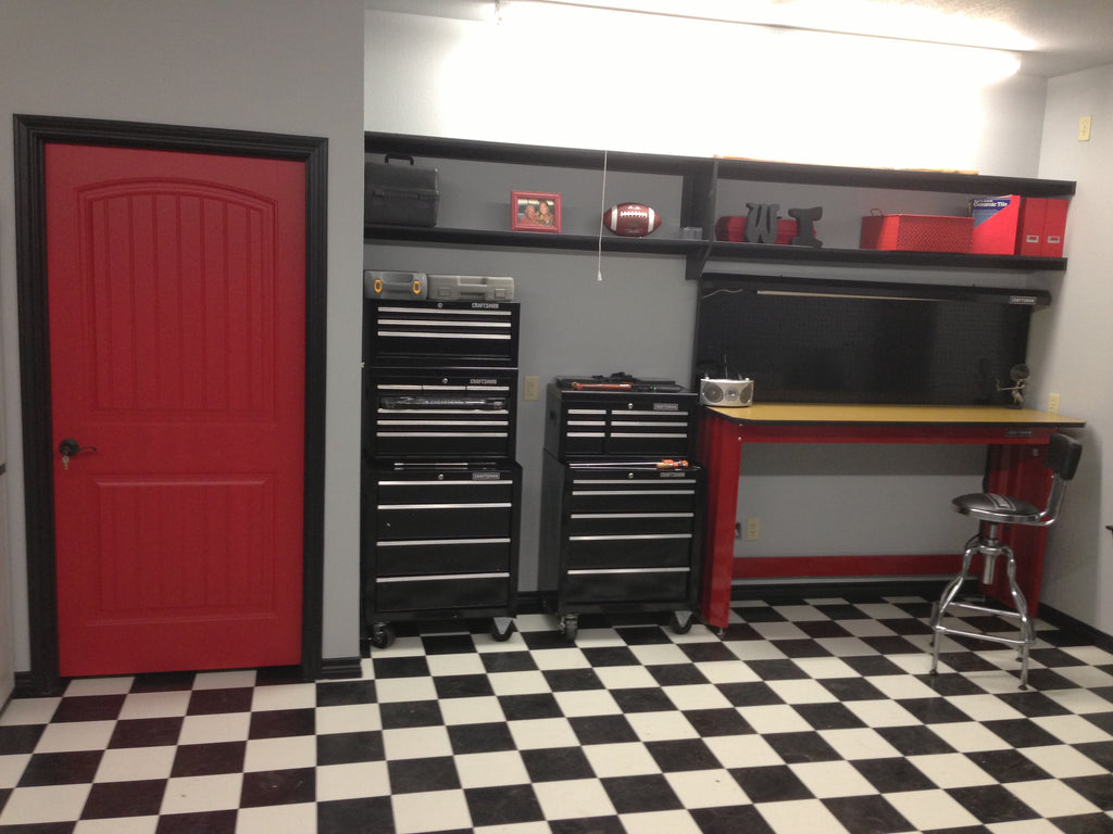 Black Amp White Checkered Garage Kitchen Continuous Vinyl