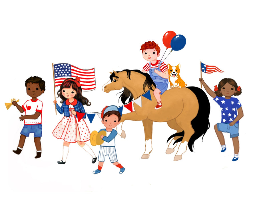 July 4th Parade Print and Coloring Page