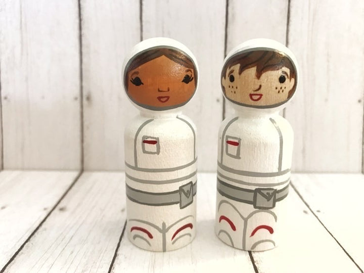 Jack and Pam Astronauts Wooden Dolls