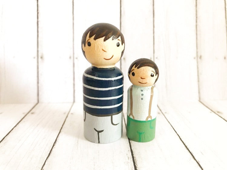Big and Little Brothers Peg Dolls
