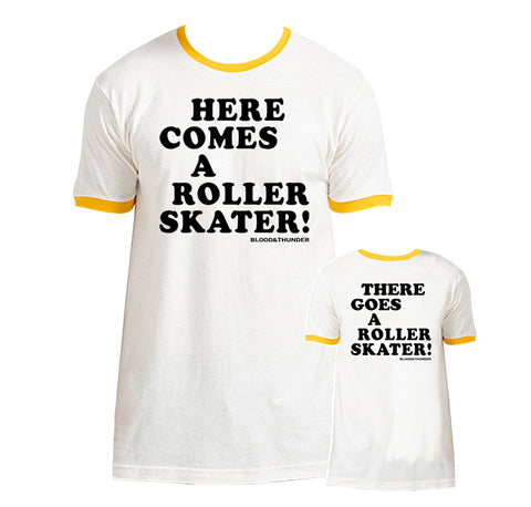 Here Comes a Roller Skater White/Yellow Ringer T-Shirt