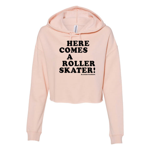 Here Comes a Roller Skater Cropped Pullover Hoodie