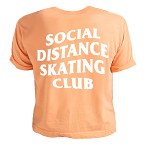 Social Distance Skating Club Coral Women's Crop Top (Wholesale)