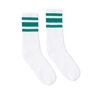 SOCCO Striped Crew Socks WHITE/TEAL