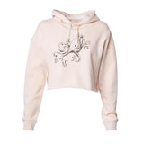 Octopus on Skates Women's Cropped Pullover Hoodie