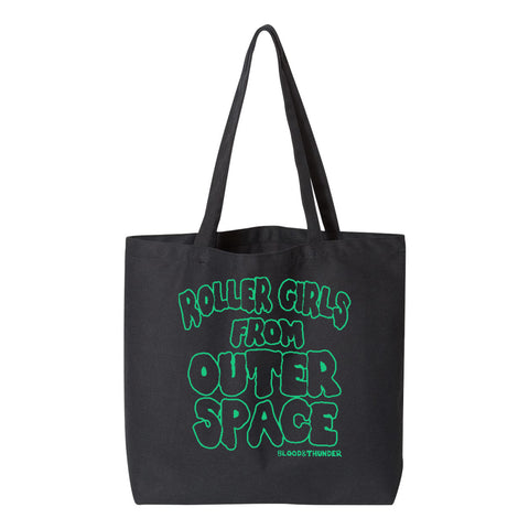 Blood & Thunder Roller Derby Roller Skating Roller Girls from Outer Space B-Movie Horror Font Tote Bag Grocery Purse Shopping Re-useable Skatewear Streetwear