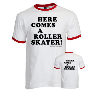 Here Comes a Roller Skater White/Red Ringer T-Shirt (Wholesale)