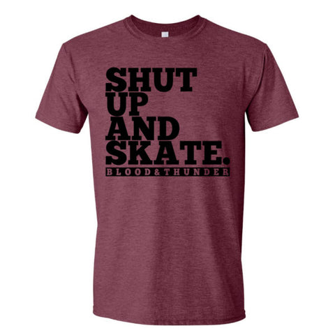 Shut Up and Skate Maroon T-Shirt or Crop Top