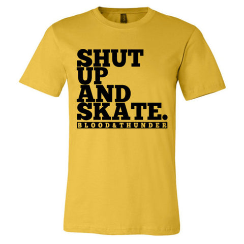 Shut Up and Skate Mustard Yellow T-Shirt or Crop Top