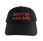 Shut Up and Skate Black and Red Dad Hat