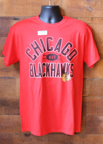 Mens blackhawks T shirt. red, black letters