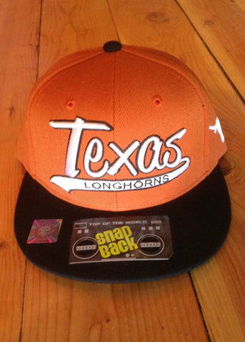 Mens Texas snap back orange and white