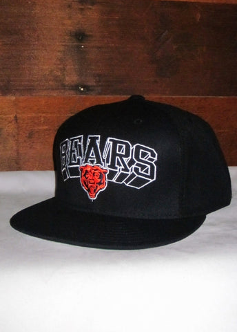 Hat Bears Black with Bear Logo and Flat Bill