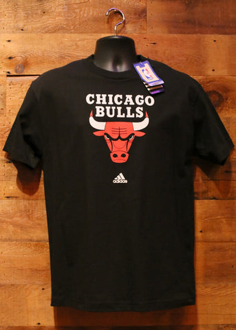 Men's T-Shirt Chicago Bulls Black with Bull Logo Adidas