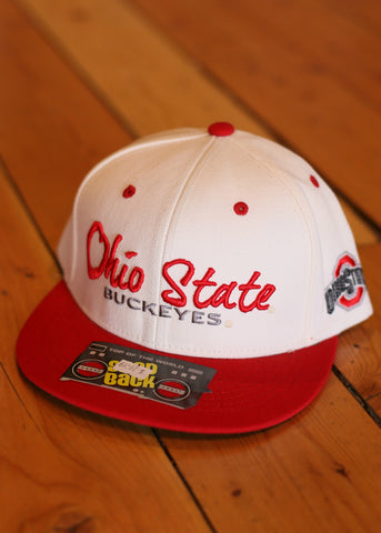 Ohio state snap back white top, red bill and red letters
