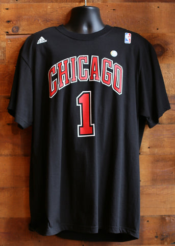 "Men's T-Shirt Chicago Bulls Black ""Chicago"" written with #1"