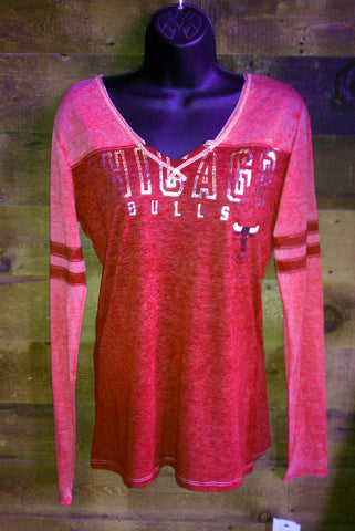 Womens Chicago Bulls Silver Red Long Sleeve Tshirt