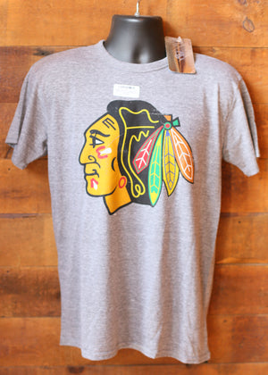 Men's Grey Blackhawk T-Shirt With Colored Logo