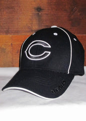 "Hat Bears Black with White ""C"" Logo and White Accents"