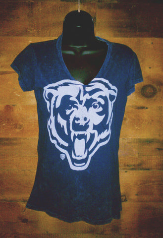 Womens Chicago Bears Blue V-neck T-shirt