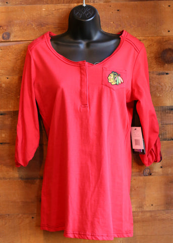 Women's Pocket Long Sleeve Chicago Blackhawks Red