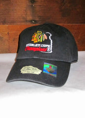 "Hat Blackhawks Black with Native Head Logo and ""Stanley Cup Champions 2010"""