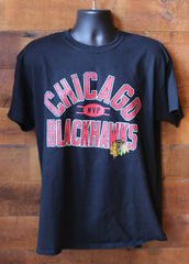 Men's Black Blackhawks T-Shirt with Red Lettering