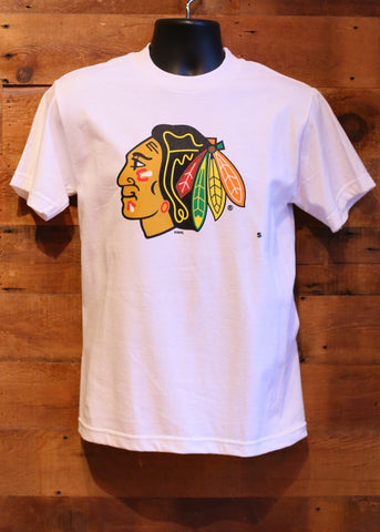 Men's T-Shirt Chicago Blackhawks White with Logo