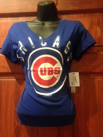 Royal Blue deep V neck womens Cub logo Tshirt
