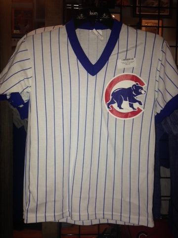 Pinstripe V neck Chicago Cubs shirt